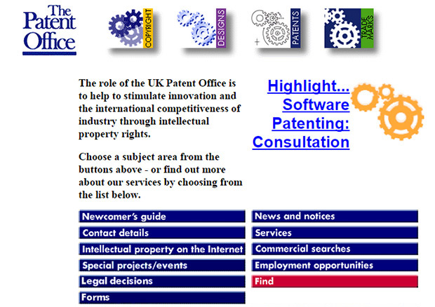Patent Office website homepage when launched in 1997
