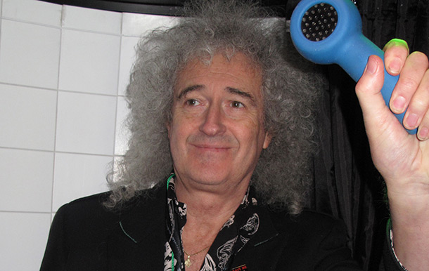 Rock legend Brian May uses the karaoke shower