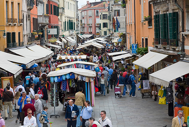Photograph of a busy street market - image licensed by Ingram Image