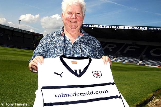 Val McDermid with Raith Rovers shirt - copyright Tony Fimister