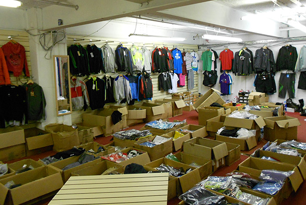 Shop full of counterfeit goods, raided by Trading Standards.