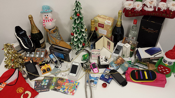 A wide variety of seized counterfeit products