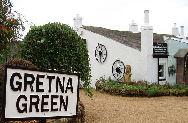 Image of Gretna Green sign and background.