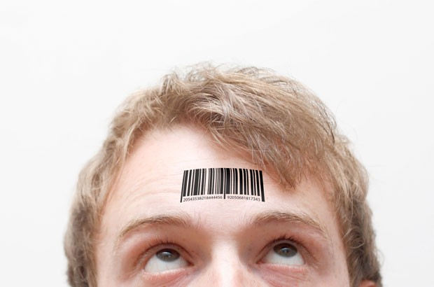 Image of barcode on forehead.