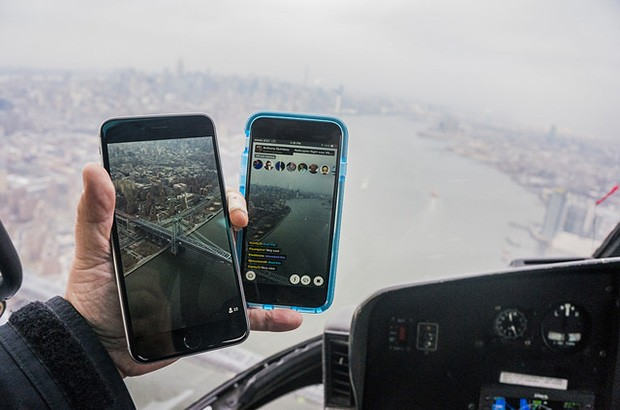 New York filmed on a smart phone from a helicopter
