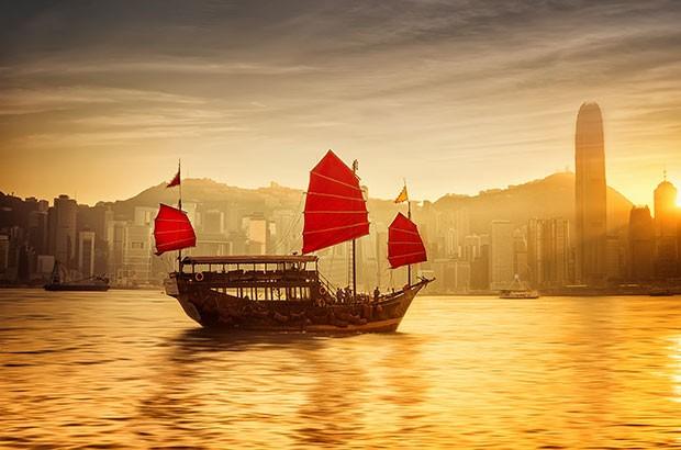 Sailboat at Victoria Harbor, Hong Kong.