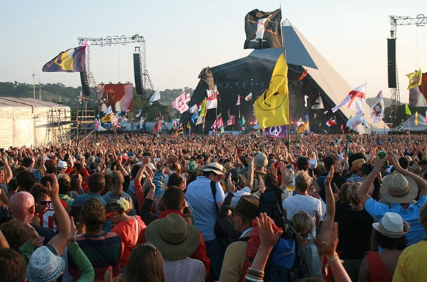 Image of the crowd at Glastonbury 2010.