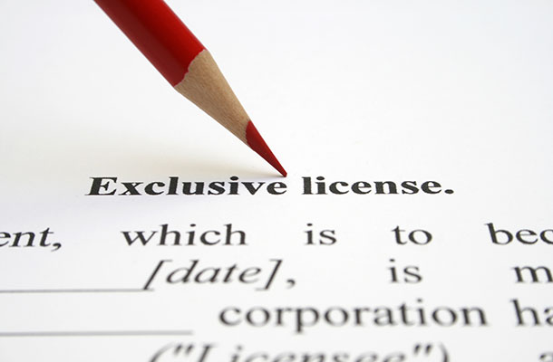 Image of an exclusive licence contract with a pencil.