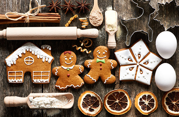 Festive food and utensils image.