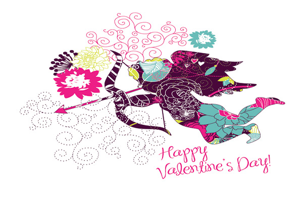 graphic of a greetings card type image with cupid and Happy Valentine's Day text.