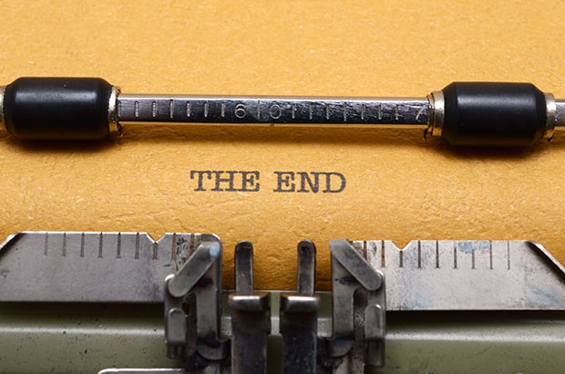 """Type writer with the words """"The End""""."""
