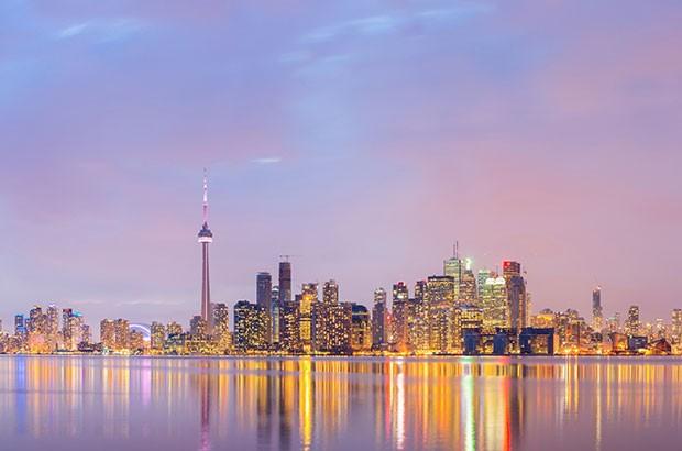 Toronto skyline at dusk.