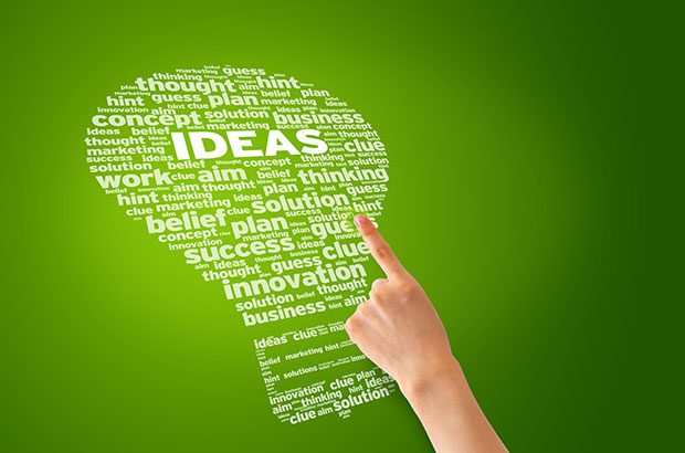 Light bulb shape word cloud including words like innovation, ideas etc.
