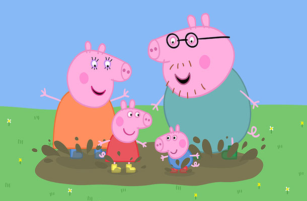 Image of Peppa Pig, Daddy Pig and Mummy Pig.