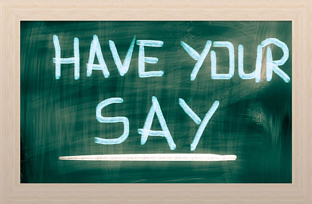 Have your say text on a chalkboard