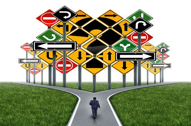Graphic of a career path with road signs.