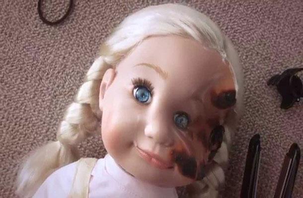 Burnt dolls face