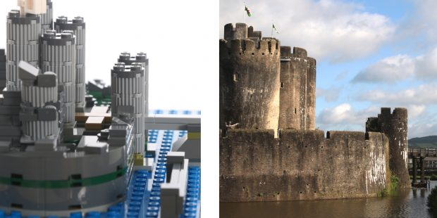 Side by side comparison of Caerphilly Castle LEGO® and the real life Castle.