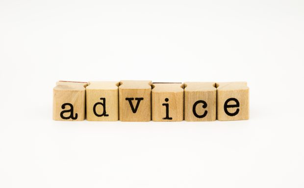 blocks of letters placed together spelling the word 'advice'