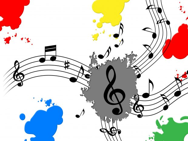 Splash Paint with musical notes