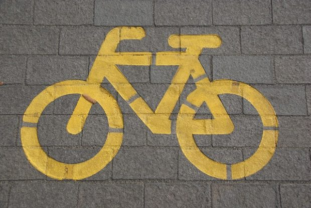 bike painted on the ground.