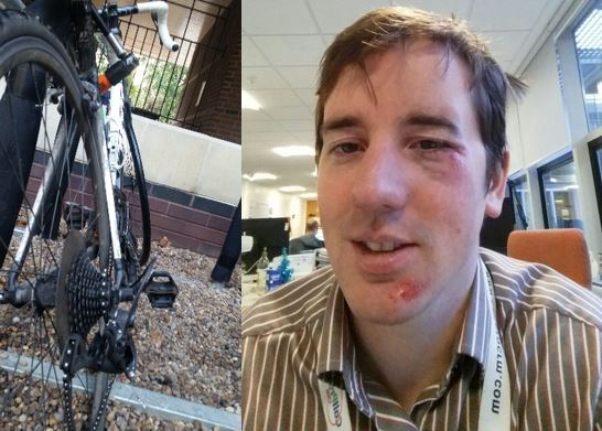 Image of broken bike and Chris Smith.