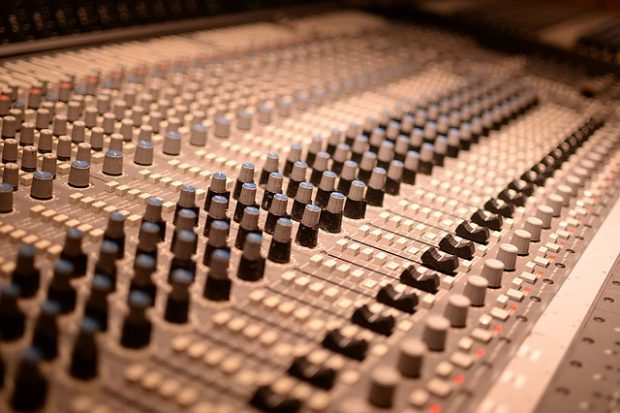 A mixer in the studio.