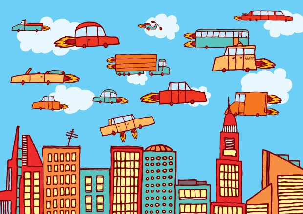 Cartoon illustration of flying cars