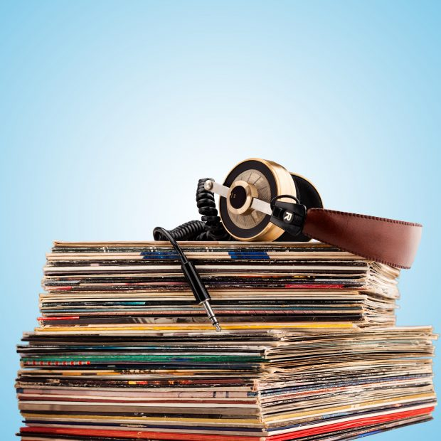 Headphones and vinyl records
