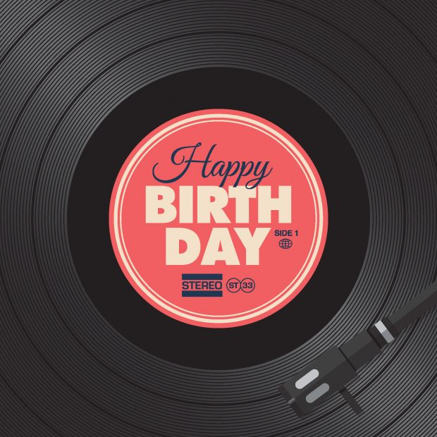 Vinyl record with Happy Birthday in the centre