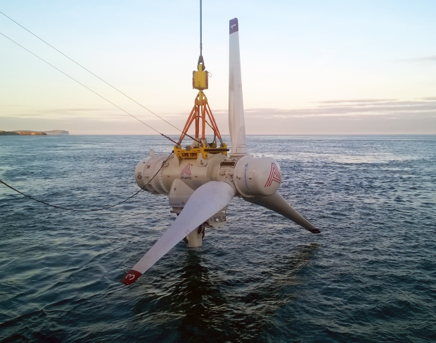 Tidal turbine above sea level