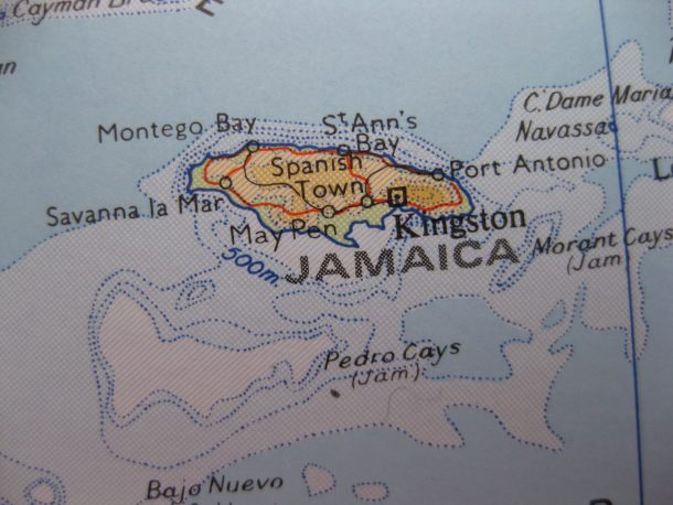 Map of Jamaica showing Kingston