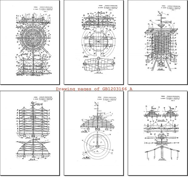 Swinging or suspended multi-deck cities from UK Patent GB1203166 (A)