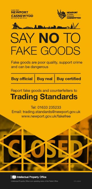 Flier for fake free newport which says say no to fake goods