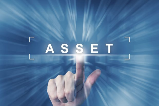 Finger pointing to the word asset