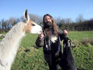 Llamasoft's legendary creative genius Jeff Minter with a Llama.