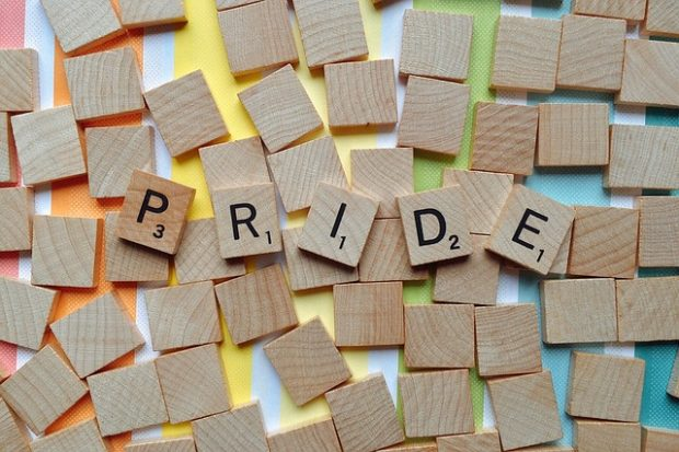 Pride text with scrabble letters