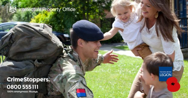 Royal British Legion and IPO logo. Soldier opening arms to family.