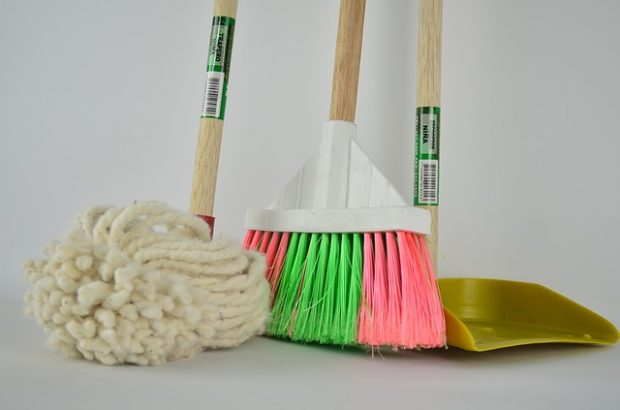 Mop, sweeping brush and dust pan.