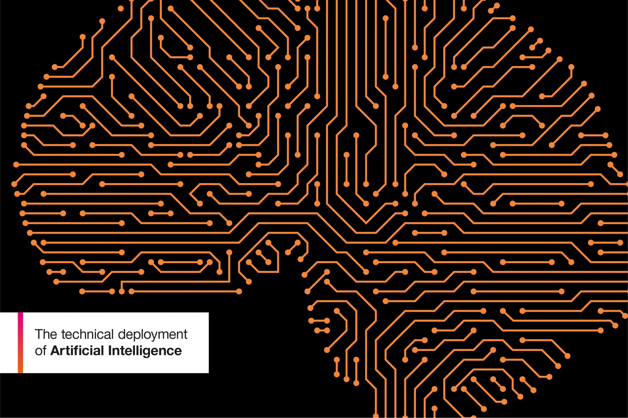 Orange graphics depicting elements of artificial intelligence against a black background with the caption Delivering Artificial Intelligence at the Intellectual Property Office.