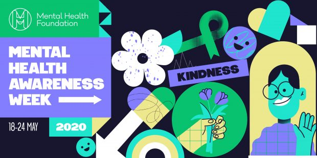 Mental Health Awareness Week multi-coloured graphic showing graphics signifying kindness.