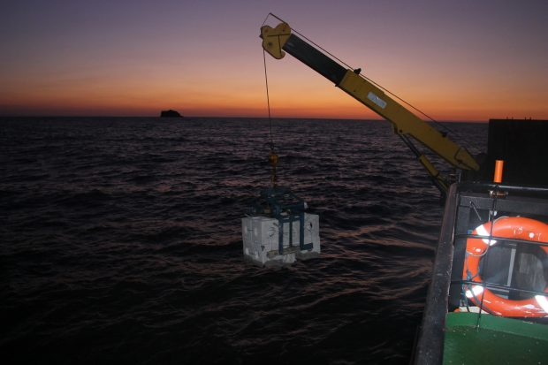 A crane lowering one of the reef cubes into the sea
