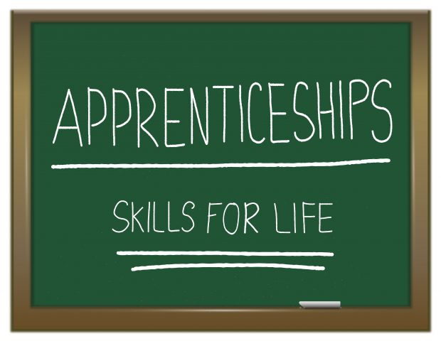 green chalkboard with the words APPRENTICESHIP SKILLS FOR LIFE written on it in white.