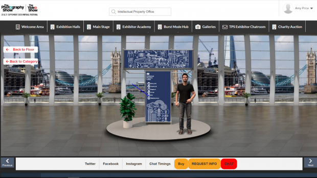 A screenshot of the IPO's virtual stand at the online Photography Show.