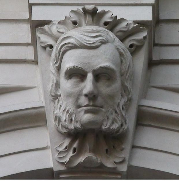 Stone carving of Bennet Woodcroft