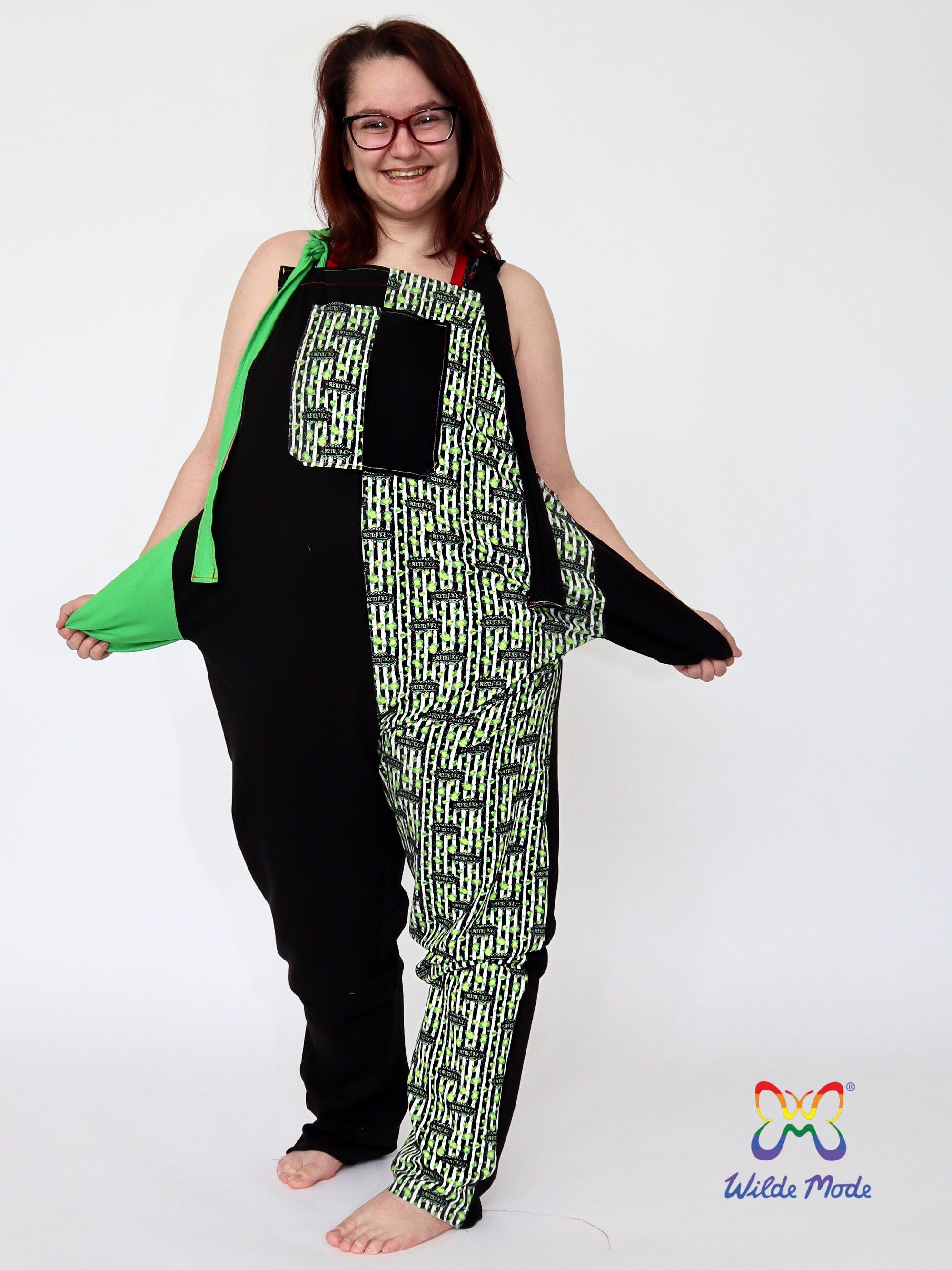One of Deborah's exclusive designs, Beetlejuice-inspired dungarees